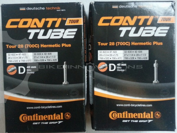 "2 x Continental HERMETIC Plus Tour 28"" 27 / 28 Zoll DV 40 mm Schlauch Conti City"
